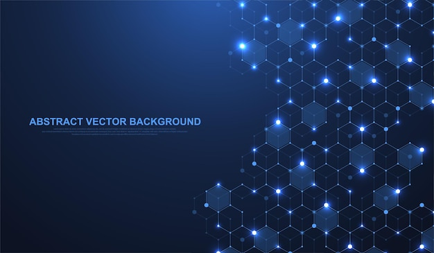 Technologie abstracte lijnen en punten verbinden achtergrond met zeshoeken. hexagons verbinden digitale gegevens en big data-concept. hex digitale datavisualisatie. vector illustratie.