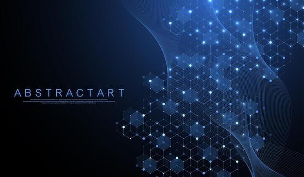 Technologie abstracte lijnen en punten verbinden achtergrond met zeshoeken. zeshoekig raster. zeshoeken verbinden digitale gegevens en big data-concept. hex digitale datavisualisatie. vector illustratie.