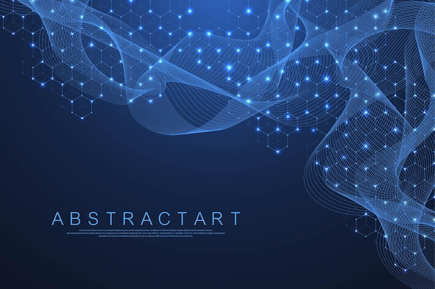 Technologie abstracte lijnen en punten verbinden achtergrond met zeshoeken. zeshoekig raster. zeshoeken verbinding digitale gegevens en big data concept. hex digitale datavisualisatie. vector illustratie. Premium Vector