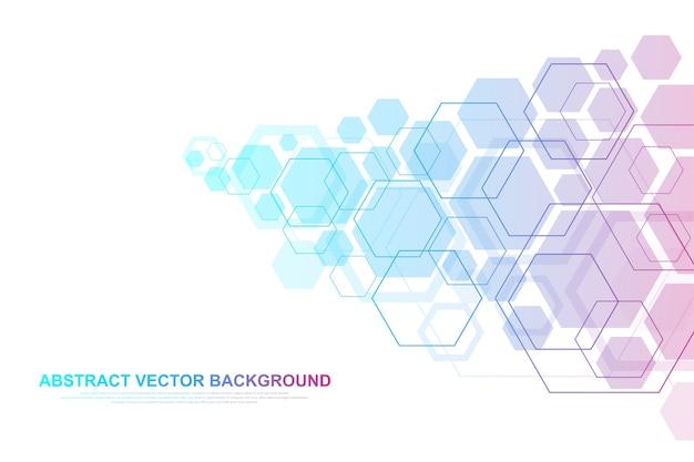 Technologie abstracte lijnen en punten verbinden achtergrond met zeshoeken.