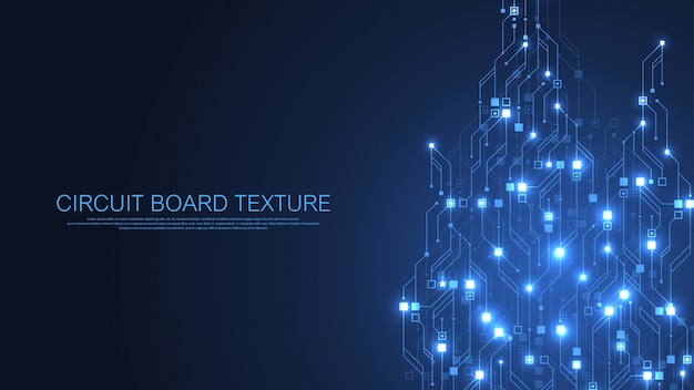 Technologie abstracte printplaat achtergrond. hightech futuristische printplaat. digitale gegevens. engineering elektronisch moederbord. minimale array big data
