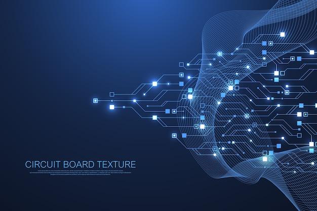 Technologie abstracte printplaat textuur achtergrond. high-tech futuristische printplaat banner behang. digitale gegevens. engineering elektronisch moederbord.