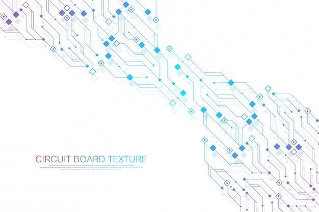 Technologie abstracte printplaat textuur achtergrond. high-tech futuristische printplaat bannerbehang. digitale gegevens. engineering elektronisch moederbord. minimale array big data-illustratie