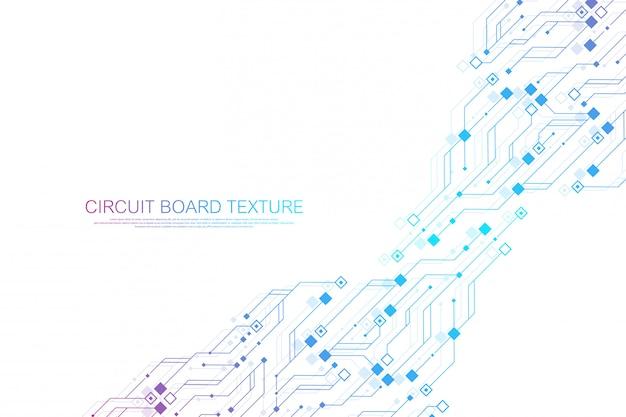 Technologie abstracte printplaat textuur achtergrond. hightech futuristische printplaat. digitale gegevens. engineering elektronisch moederbord. minimale array big data