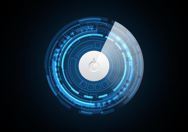 Technologie abstracte toekomstige / uit-knop cirkel