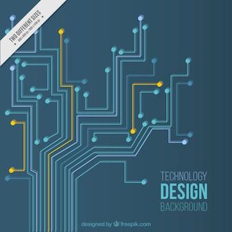 Technologie achtergrond met oranje en blauw circuits