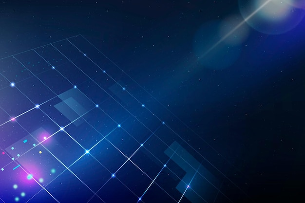 Technologie achtergrond vector met rasterpatroon en flare