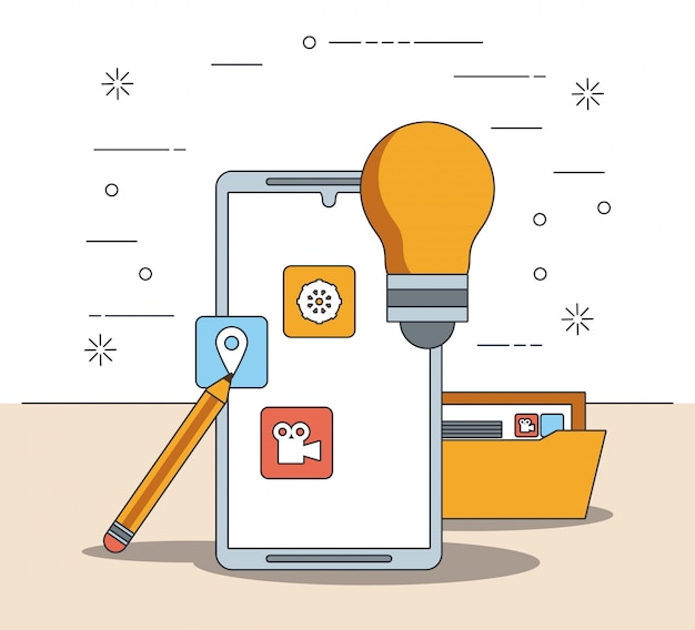Technologie apparaat eletronic moderne gadget cartoon