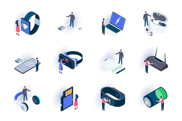 Technologie-apparaten isometrische pictogrammen instellen. innovatieve slimme gadgets, moderne digitale technologieën in het leven vlakke afbeelding. mobiele digitale apparaten 3d isometrie pictogrammen met personages.