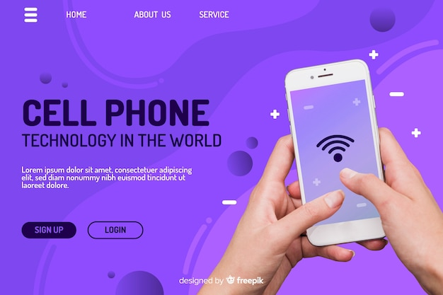 Technologie bestemmingspagina met telefoon