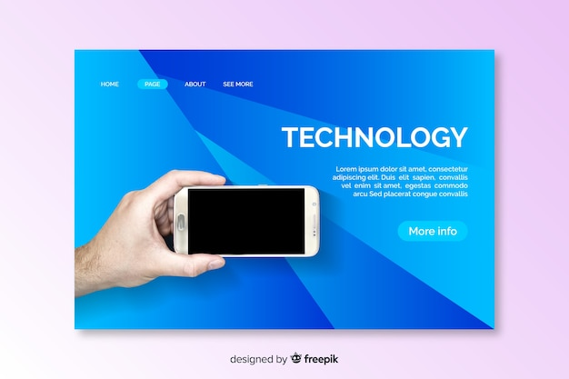 Technologie bestemmingspagina sjabloon met foto
