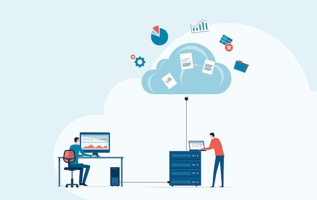 Technologie cloud computing-opslagserviceconcept met beheerder en ontwikkelaarsteam aan het werk