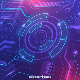 Technologie concept achtergrond met neonlicht