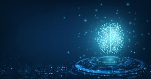 Technologie concept. vector abstracte veelhoekige menselijke hersenen vorm van een kunstmatige intelligentie met lijnstippen en schaduw op donkerblauwe kleur achtergrond.