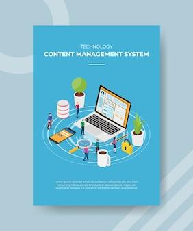 Technologie content management systeem mensen staan voor laptop smartphone voor sjabloon van banner en flyer