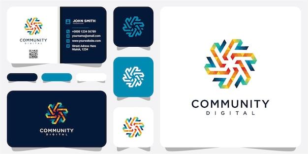 Technologie digitaal logo vectorontwerp met concept van digitale gemeenschap voor technologiegemeenschap, toepassingssoftware. r-community logo-ontwerp