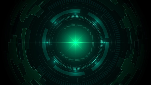 Technologie donkergroene achtergrond met hi-tech digitale gegevensverbinding.