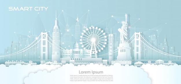 Technologie draadloos netwerk communicatie slimme stad met architectuur in amerika.