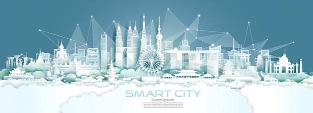Technologie draadloos netwerk communicatie slimme stad met architectuur in azië.
