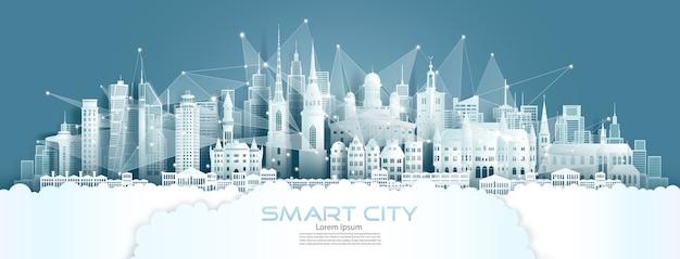 Technologie draadloos netwerk communicatie slimme stad met architectuur in zweden