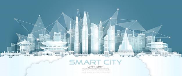 Technologie draadloos netwerk communicatie slimme stad met architectuur zuid-korea.