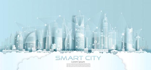 Technologie draadloos netwerk communicatie slimme stad met architectuur.