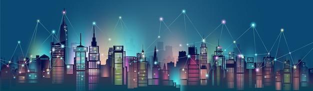 Technologie draadloos verbinden modern in de wolkenkrabber van de architectuurstad.