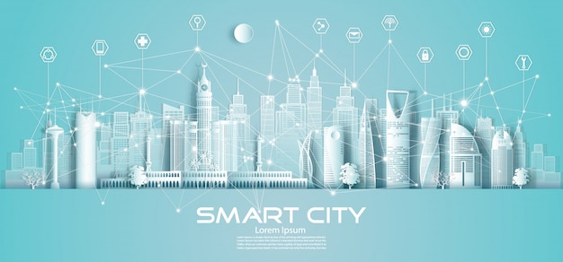Technologie draadloze netwerkcommunicatie slimme stad en pictogram met architectuur in saoedi-arabië.