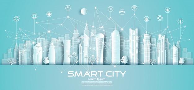 Technologie draadloze netwerkcommunicatie slimme stad in qatar en het stadscentrum.