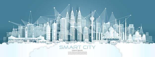 Technologie draadloze netwerkcommunicatie slimme stad met architectuur in de skyline van de binnenstad van maleisië in azië