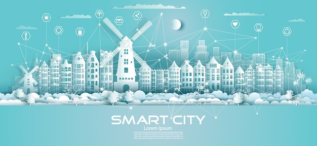 Technologie draadloze netwerkcommunicatie slimme stad met pictogram in de wolkenkrabber van het centrum van nederland op blauwe achtergrond, futuristische groene stad en panoramisch uitzicht.