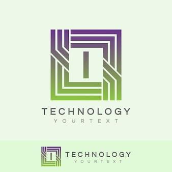 Technologie eerste letter i logo ontwerp