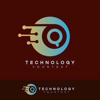 Technologie eerste letter q logo ontwerp
