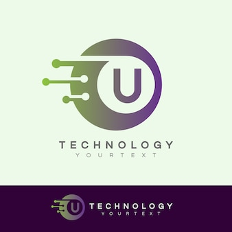 Technologie eerste letter u logo ontwerp