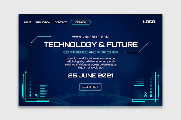 Technologie en toekomstige bestemmingspagina-sjabloon