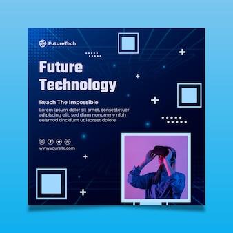 Technologie en toekomstige kwadraat flyer-sjabloon