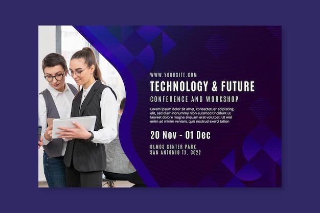 Technologie en toekomstige zakelijke sjabloon voor spandoek
