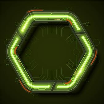 Technologie frame achtergrondontwerp in neon stijl