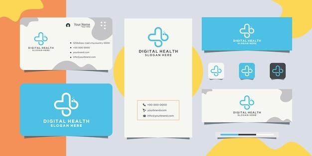 Technologie gezondheid logo ontwerp en visitekaartje