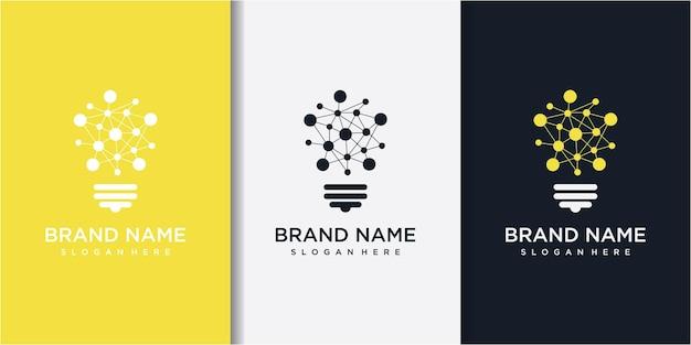 Technologie gloeilamp - concept logo-ontwerp. digitaal creatief ideeteken.