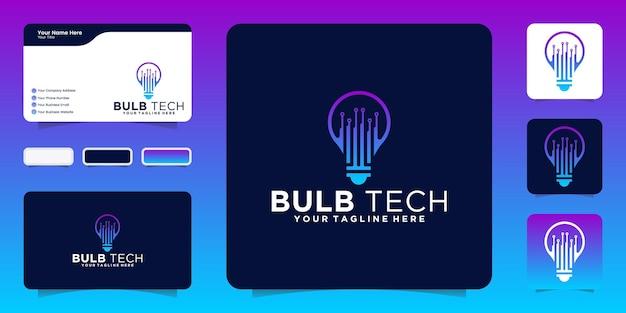 Technologie gloeilamp logo ontwerp inspiratie en visitekaartje