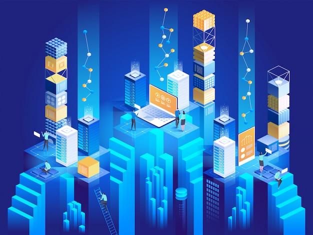 Technologie isometrisch concept. digitale blokkeert de verbinding met elkaar.