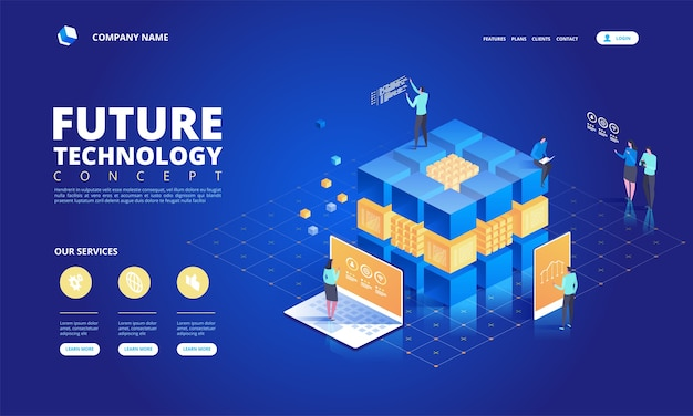 Technologie isometrische concept illustratie