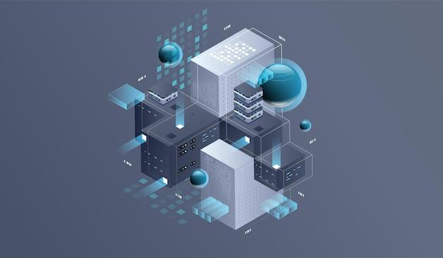 Technologie isometrische illustratie van kwantumcomputer.