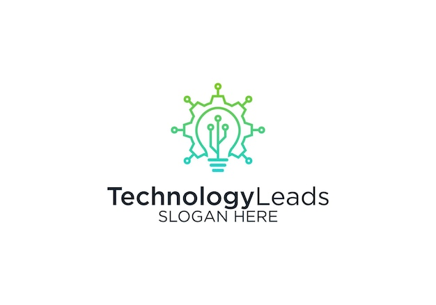 Technologie leidt logo ontwerpsjabloon