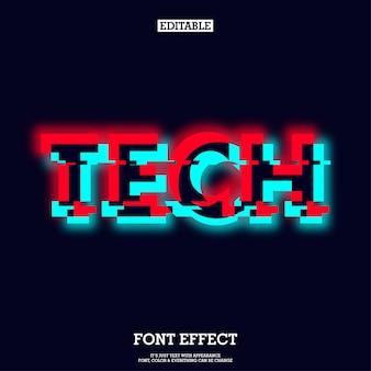 Technologie lettertype met gloeiende en glitch effect