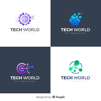 Technologie logo collectie verloopstijl