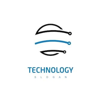 Technologie-logo met circuitsymbool