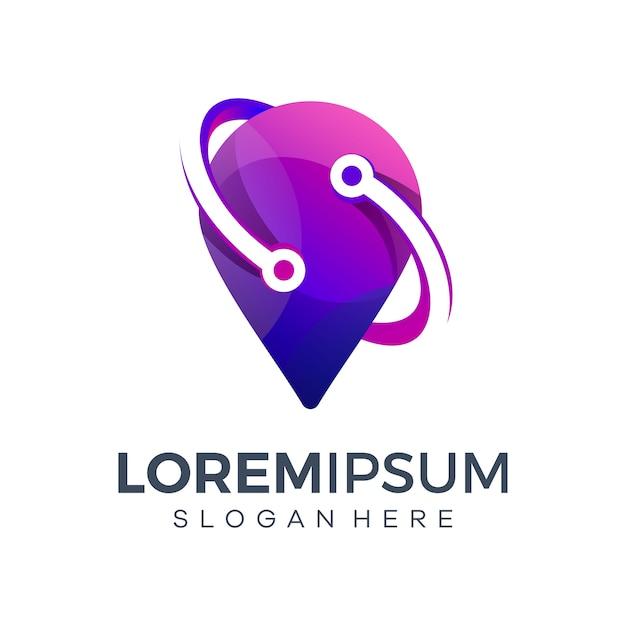 Technologie logo-ontwerp in kaartvormen