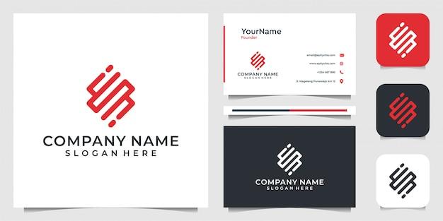 Technologie logo ontwerp in lijn kunststijl. goed voor internet, merk, reclame, zaken en visitekaartjes